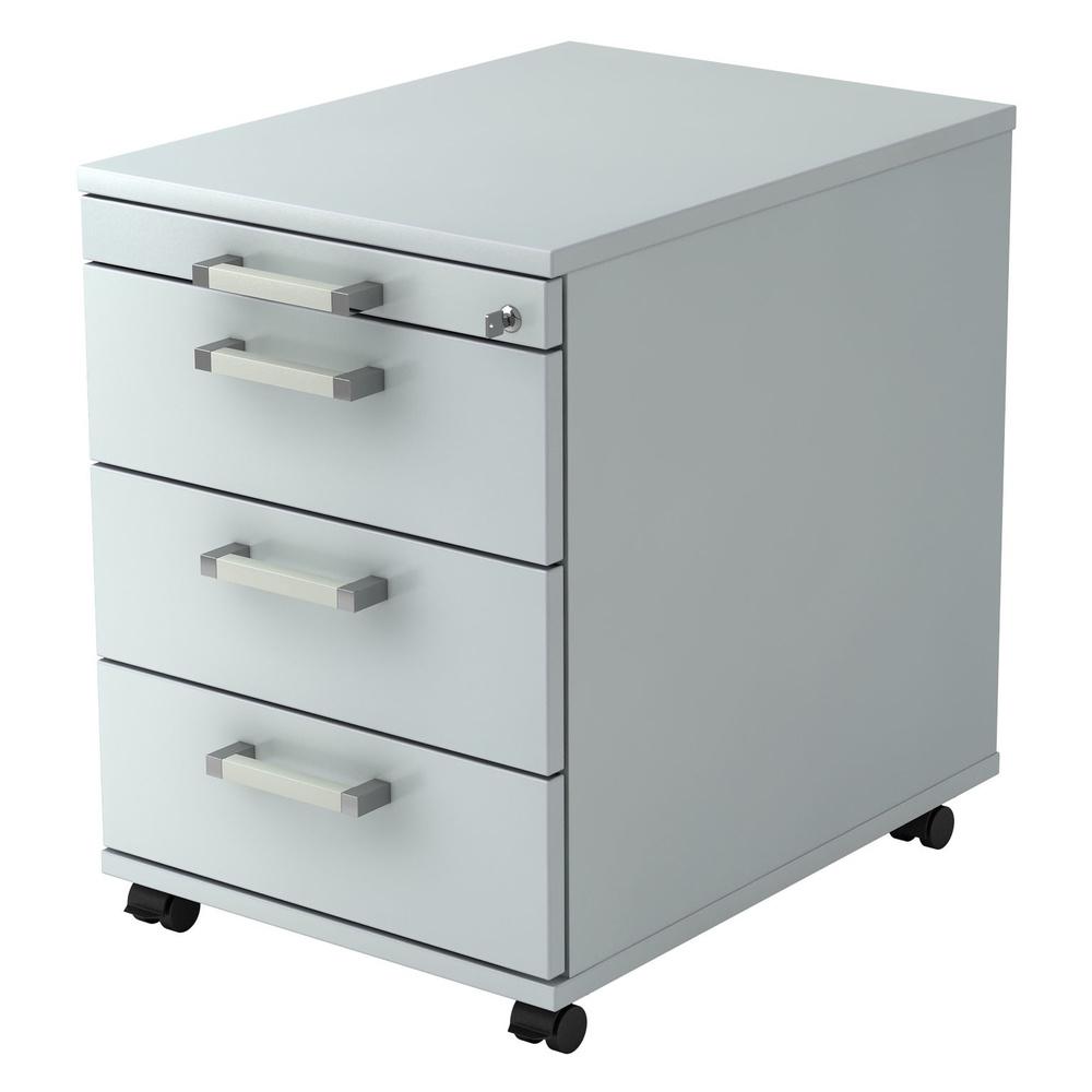 SIGNA AC30 CE - Rollcontainer Grau mit 3 Schüben Chromgriff Metall