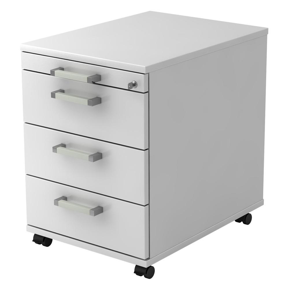 SIGNA AC30 CE - Rollcontainer Weiß mit 3 Schüben Chromgriff Metall