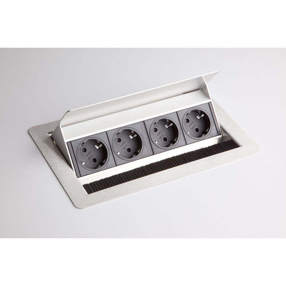 hjh OFFICE PRO ELDOSE 1 | Steckdosenleiste (mit Einbau) | 4 x Steckdose - Silber