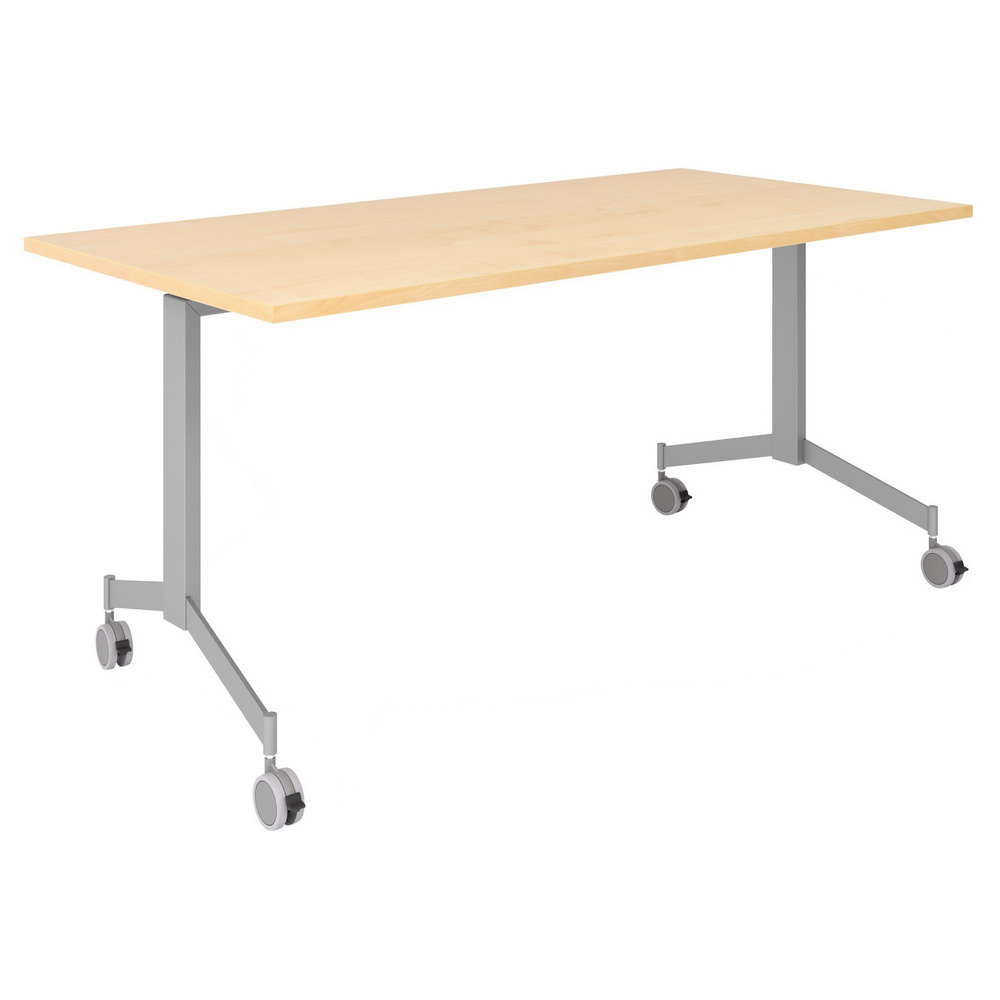 hjh OFFICE PRO KALA 16 | Klapptisch fahrbar | 160 cm | Silber - Konferenztisch Ahorn