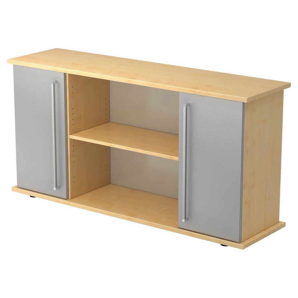 KAPA SB | Sideboard | mit Türen - Ahorn/Silber Sideboard Chromgriff Metall