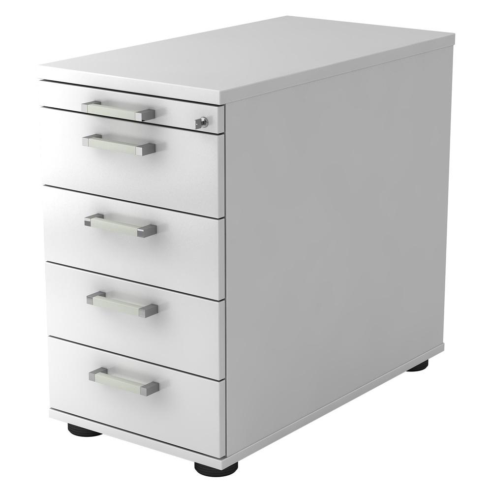 SIGNA SC50 CE - Rollcontainer Weiß mit 4 Schüben Chromgriff Metall